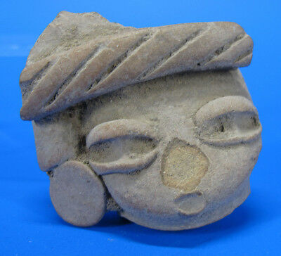 Ancient Pre-Columbian Teotihuacan Style Head Mask Artifact Pottery Fragment yqz