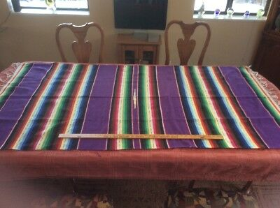 "Vintage Saltillo Mexican Mexico Serape Blanket 80"" x 38"" Beautiful"
