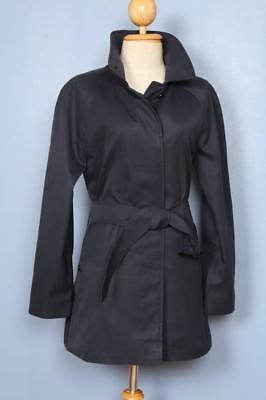 Womens BURBERRY Single Breasted Short TRENCH Coat Mac Navy 8/10 Small