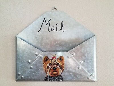 Yorkie Yorkshire Terrier Puppy Dog Hand Painted Mail Holder Wall Hanging Decor