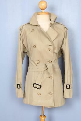 Womens BURBERRY Double Breasted Short TRENCH Coat Mac Olive Green 14/16 Lrg