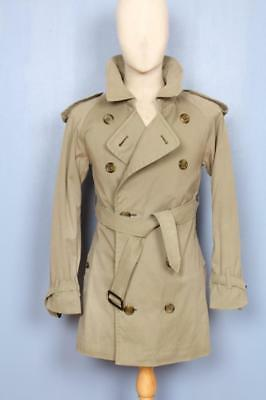 Mens BURBERRY Double Breasted Short TRENCH Coat Mac Green/Grey Size XS 34