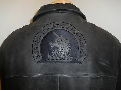 c74d64a43b9f Boston Athletic Association Adidas Mens Black Leather Jacket Full Zip Front  Xl