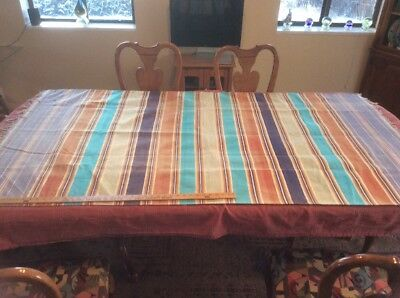 "Vintage Striped Saddle Blanket Rug With Fringe 79"" x 42"""