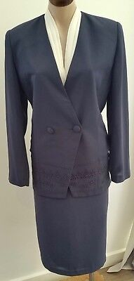 Retro 90s DISCOVERY Australian Made BLUE GREY Office SKIRT JACKET SUIT size 10