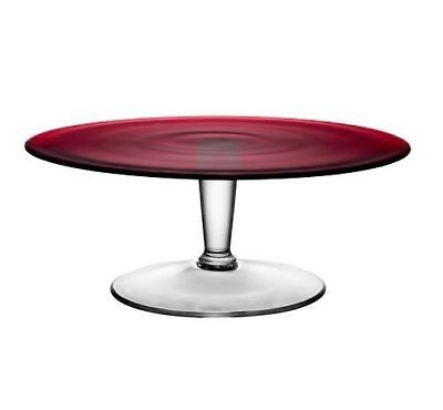 Red Glass Cake Stand Display Platter Serving Tier Cupcake Vintage Ikea 33Cm