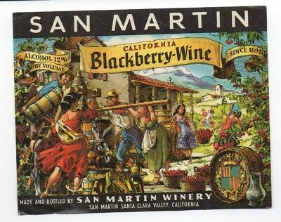 Beautiful 1950s Wine Label for San Martin California Blackberry Wine