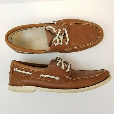 Cole Haan Mens Boat Shoes Light Brown Leather 10.5M C10254 Lace Up Moc Toe