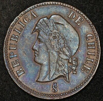 1895/85 Chile 2 1/2 Centavos Copper Coin Rotation Scarce Km-150 Bold Blue Toning
