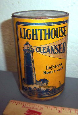 Vintage Lighthouse Cleanser 14 oz tin, empty, great graphics & colors, Chicago