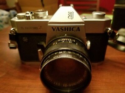 vintage yashica tl electro camera with leather bag