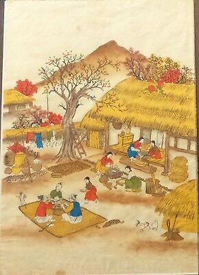 Antique Chinese Rice or Pith Paper Watercolor Painting,Family Day w/Dog, Rooster