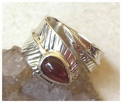 925 Sterling Silver Natural GARNET Semi Precious GEMSTONE RING SZ N1/2 - US 7