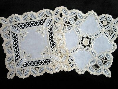 2 Antique Golden Society Silk Embroidered Linen & Bobbin Lace Doilies MINT