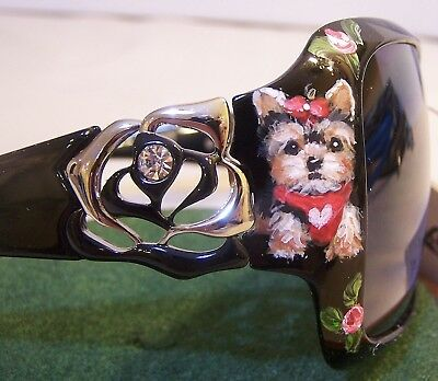 Yorkshire terrier hand painted special crystal  sunglasses original dog art gift