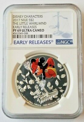 2017 Niue Disney Mickey Ages Whirlwind 1 oz Silver $2 NGC PF69