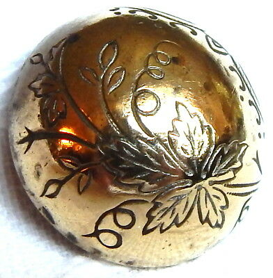 ANTIQUE 19th CENTURY GILT BRASS DOME BUTTON w/BEAUTIFUL CHASED LEAF ON TOP