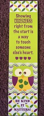 Reading, Kindness, Owl Laminated Bookmark FREE SHIPPING Classroom Prize Teacher