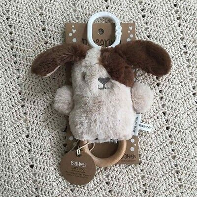 O.B Designs Dingaring Dave Dog (Beige) -Baby Plush Wooden Teething Rattle Toy OB
