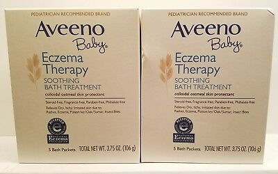 2 Aveeno Baby Eczema Therapy, Soothing Bath Treatment - 5 Packets each