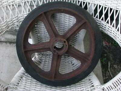 Vintage Cast Iron  Industrial Cart Wheel Pulley Farm Antique STEAMPUNK