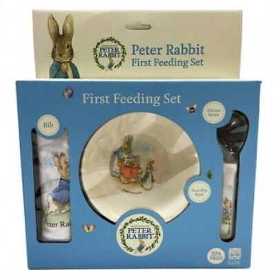 NEW World Of Beatrix Potter Peter Rabbit 3pc First Feeding Set Bib, Bowl, Spoon