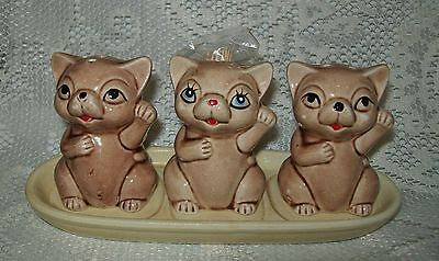 VINTAGE 4pc TAN CATS SALT/PEPPER SHAKERS/TOOTHPICK HOLDER on TRAY Japan