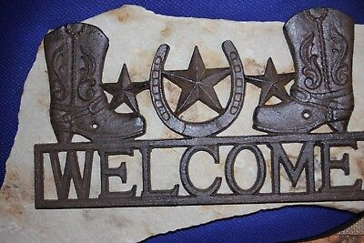 """(1) Texas Lone Star Welcome Sign Cast Iron 13 1/4"""", Cowboy Welcome Sign, W-10"""