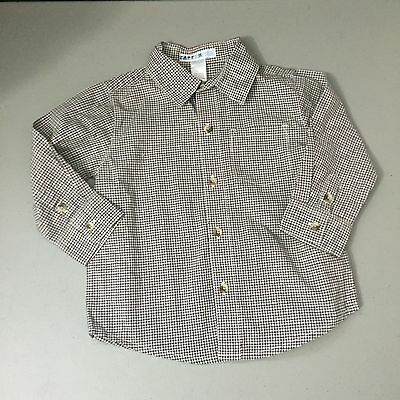Janie & Jack Autumn Classic Dog Line Button Down Dress Shirt Plaid Size 12-18M