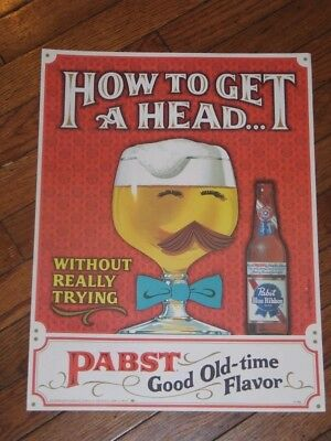 Vintage 1960s Pabst Blue Ribbon Ad Poster Print NOS PBR Rare Beer Advertising NR