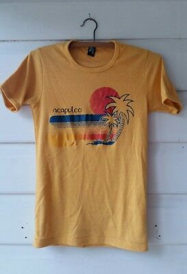 Retro t-shirt from Acapulco, Mexico, genuine vintage tee, 70s surf hippie