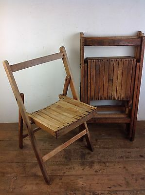 Four Vintage Folding Chairs Seating Dining Garden Stackable Old Wood