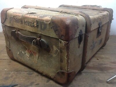 Green canvas wood banded trunk vintage travel chest old restoration project