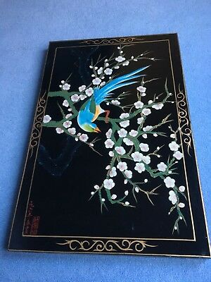 4 Large Chinese Wall Panels with Bird and Flower Design on Black Lacquer Board