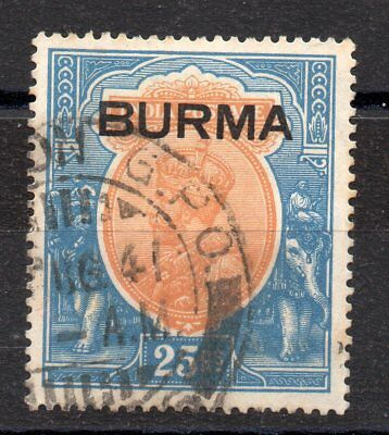 Burma 1937 25R Sg 18 Cat £600 Toned Postal Used Gpo Cancel