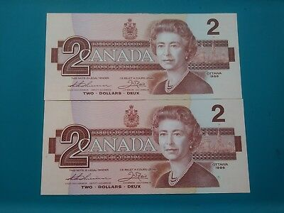 1986 Canada 2 Two Dollar 2 Consecutive  Canadian Banknotes.Choice AU