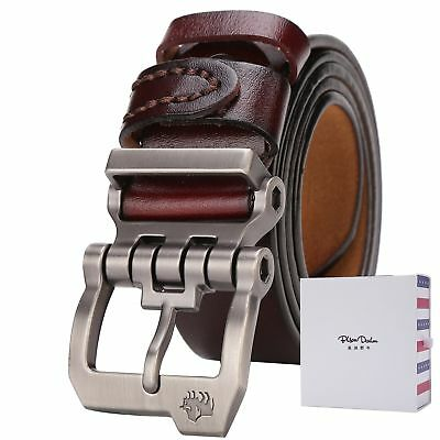 Mens Genuine Leather Belt Brown Branded Designer Fashion Casual For Jeans Buckle