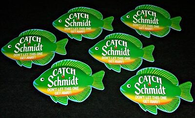 "Lot of 6 1990's Schmidt Beer ""Catch a Schmidt"" Cardboard Fish Display Cards"