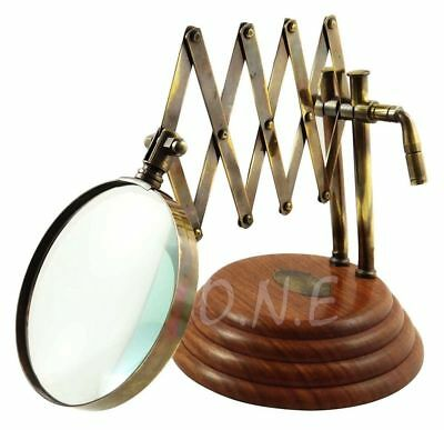 Desk Top Channel Magnifier Vintage Style Brass Magnifying Glass on Wooden Stand