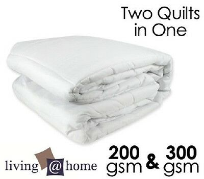 Two Quilts In One 300GSM & 200GSM All Season Mircofiber Doona/Quilt-Double Size