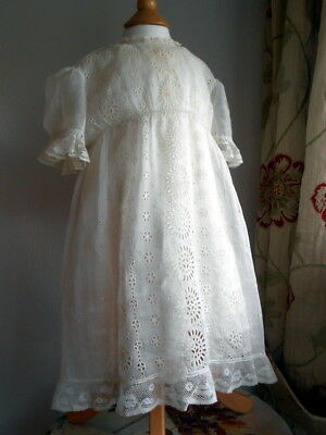 Gorgeous Embroidered Sheer Little Girls Christening Dress with Frilled Petticoat
