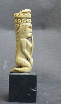 Antique and quality statuette/amulet of a figure/snake Indonesia Borneo Dayak