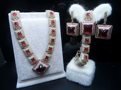 Exalted ! 925 Sterling Silver Jewelry  Ruby Ladies  Full Sets