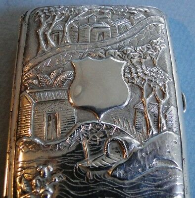 Antique Ornate Chinese Export Silver Cigarette Box Figural Cumshing Canton 1800