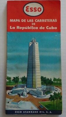 Vintage 1950's Color Map Of Cuba By Us Oil Company Esso Street Map Of Havana