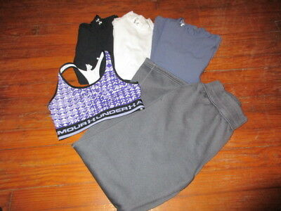 Under Armour Womens Lot Small 3 Mock Thermal Shirts Sports Bra Sweatpants Euc