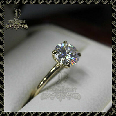 2Ct Round-Cut Moissanite Diamond Solitaire Engagement Ring 10k Yellow Gold
