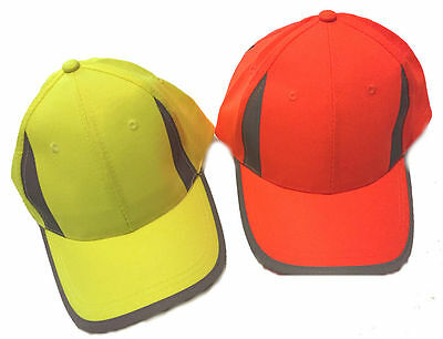 Hi Viz Neon Reflective Baseball Cap Visibility Yellow or Orange Safety High Vis