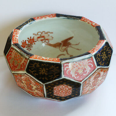 Antique Imari ? bowl, hand painted, cranes inside, hexagon faceted sides
