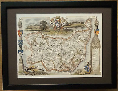 Old County Map wall art -12''x16'', Framed Suffolk map